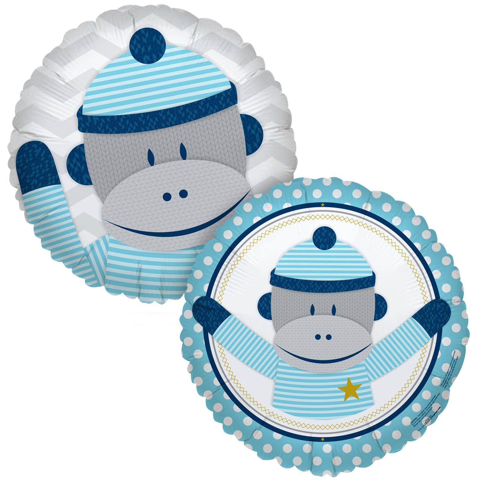 Image of Sock Monkey Blue Foil Balloon